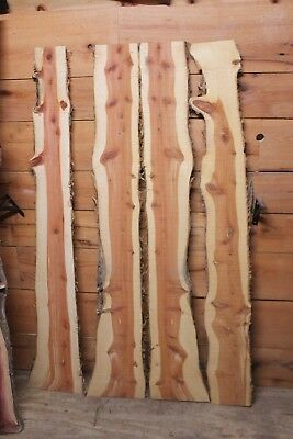 (Four Red Cedar Live Edge Wood Slab  Lumber Rustic Woodwork 68in N05)