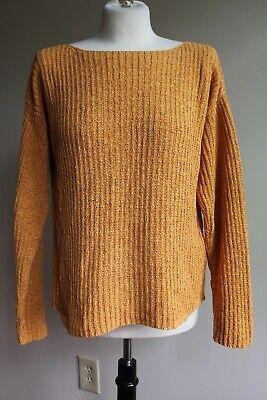 Eileen Fisher M Orange Cotton/Nylon Rib Knit Boat Neck Sweater Rib Knit Boatneck Sweater