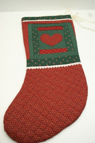 Handcrafted Christmas Stocking Quilted, Log Cabin Design, Appliqued Heart, 20in