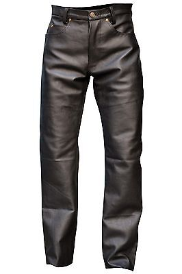 Men's Black Button Fly Thick Genuine Leather Pant 05 Pockets Jeans New Size 30