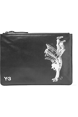 adidas Y-3 by Yohji Yamamoto Printed Faux Leather Pouch Clutch Zip Bag 3 Stripes for sale  USA