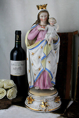 Large French porcelain bisque polychrome madonna child statue religious