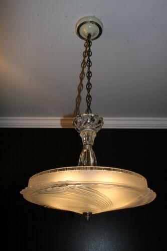 Antique vintage glass art deco light fixture ceiling chandelier frosted 16 inch