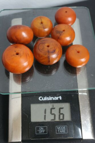 "Vintage Authentic Butterscotch Amber Bakelite Large Beads 1-1.5"", 156 grams"