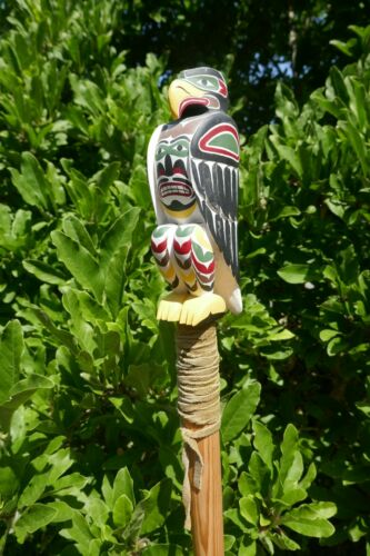 """Large Hand Carved Native Poly-chrome Talking Stick W/ Hawk Design - 60"""" Tall"""