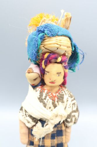 Antique Guatemalan Padded Cloth Doll Woman and Baby on Wood stand Stamped Sombol