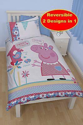 Peppa Pig Tweet Single Duvet Quilt Cover Bedding Set Childrens Bedroom Girls Bed