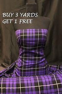 Genuine Purple Black Tartan Plaid Woven Poly-Viscose Craft Dress Fabric Material