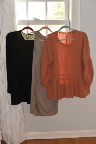 Pink Blush lot of 3 maternity dress & 2 tops tunics beige maueve pink black M
