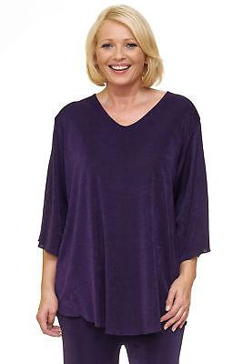 Damen Slinky (Damen Slinky Tunika Shirt Feenärmel A-Linie Plus Size violett 3/4 Arm Hemd Bluse)