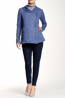 Momo Maternity Blue Cali Asymmetrical Zip Jacket, Size S, NWT