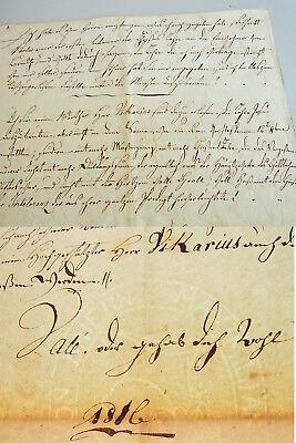 Folio-Brief LANDAU 1816 // über politische Verhältnisse // gegen Vikar // UNIKAT