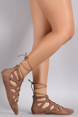 Ballerina Leg - New Pointy Toe Cage Cut-Out Strappy Leg Wrap Lace-Up Ballerina Ballet Flat Shoes