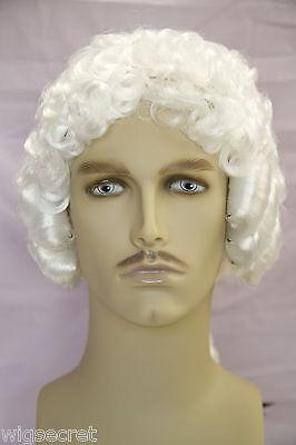 Fun Wigs For Men (Plain White Fun Color Medium Curly Costume Fun Color Wigs Men)