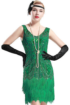 Womens Flapper Dress 1920s V Neck Beaded Fringed Great Gatsby Green Small New](Great Gatsby Clothes For Women)