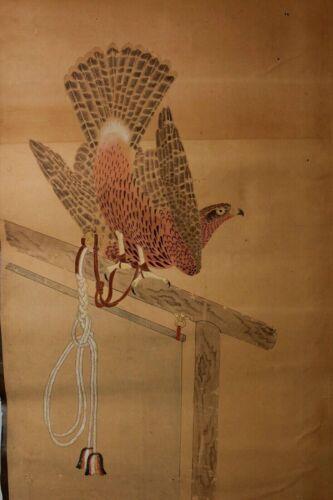 Rare  early Painting depicting Takagari  Hawk 17-18th century Edo GG13