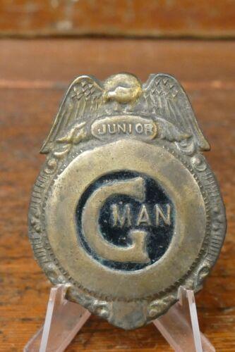 Vintage 1930s/1940s JUNIOR G MAN Police FBI Metal Toy Badge w/ Pin Gold Black
