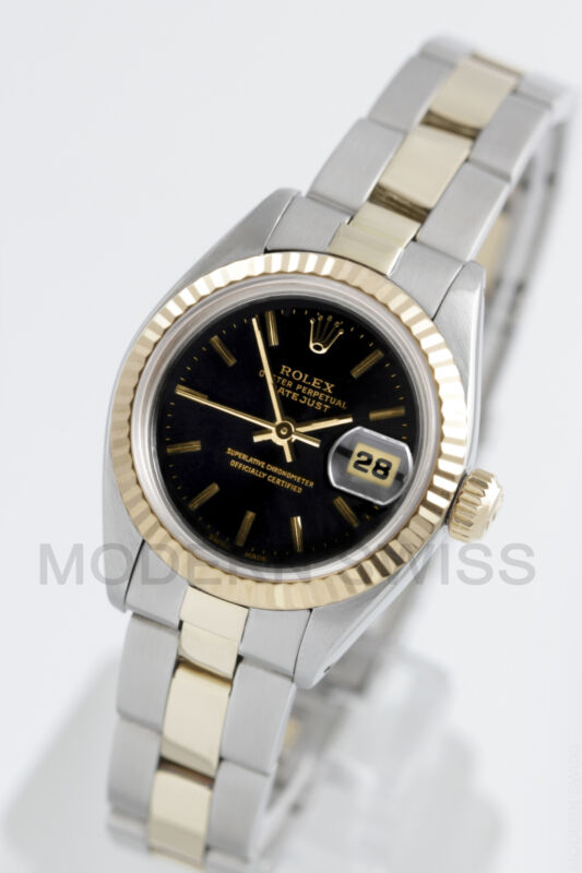 Rolex Ladies Datejust Gold & Steel Black Index Fluted Oyster Perpetual Two Tone