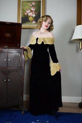 Vintage 1930's Silk Velvet And Lace Evening Gown