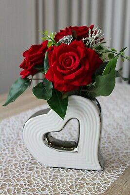 iß silber Kunstblumen Keramik Blumenvase Gesteck Blumen  (Weiße Keramik-vasen)