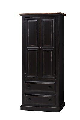 AMISH Made Solid PINE UNFINISHED - ARMOIRE - Rustic Primitive Farmhouse Country Country Solid Pine Armoire