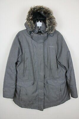Eddie Bauer Womens Jacket Coat Parka Grey Hooded Fur Down Zipper Puffer Sz XXL