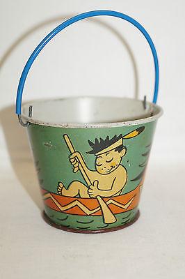 Vintage kleiner alter Spielzeug Eimer Blech Sandkasten Indianer Boot Comic