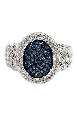 Savvy Cie Blue Diamond Accent Braid Texture Ring - 0.25 ctw, Size 8, $400, -