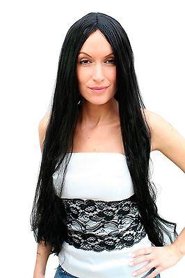 schwarze Perücke Scheitel glatte Haare Hexe böse Fee 80 cm (Böse Fee Perücke)