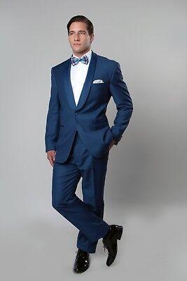 Men's Satin Shawl Collar Slim Fit Tuxedo Suit One Button Groomsmen Wedding Tux -