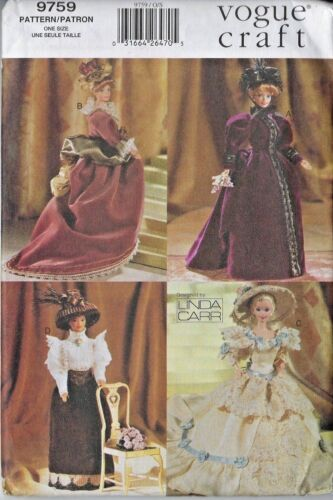 """Vogue 9759/622 11.5"""" Doll Historical Costume Clothing Pattern ~ Fits Barbie, etc"""