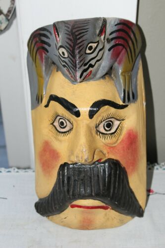 VINTAGE MEXICAN HANDMADE WOOD MAN WITH LARGE MUSTACHE BAT /BIRD MASK