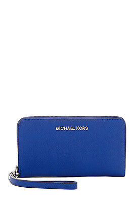 Michael Kors Large Wristlet Saffiano Multifunction Iphone Wristlet Sapphire
