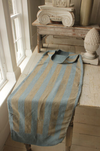 Grain Sack Gray Blue Linen Fabric GRAINSACK w/ khaki stripe 19th century textile