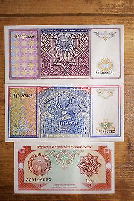 Set of 3 diff. Uzbekistan 1994 3, 5, 10 Sum Au-Unc.