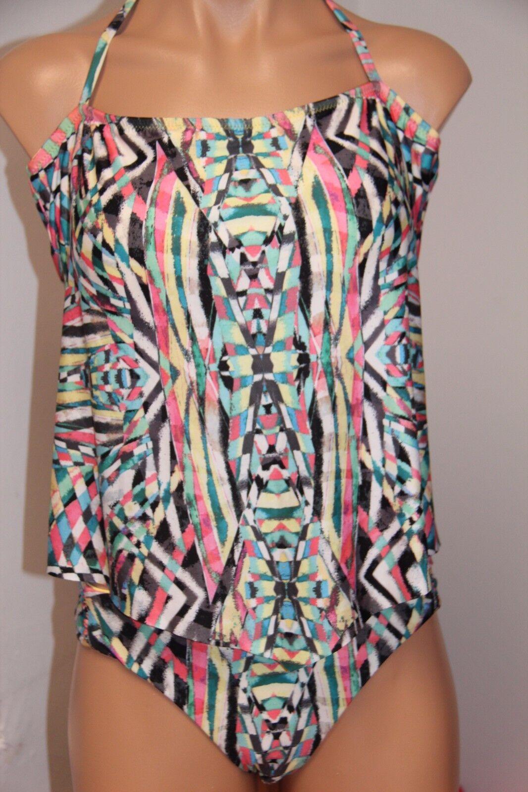 Becca Swimsuit Bikini Tankini 2 Pc Set Size L Multi Halter