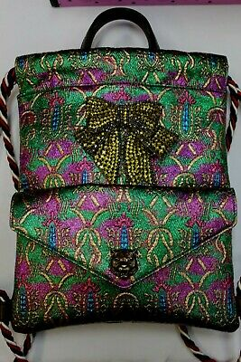 NEW Gucci Brocade Animalier Bow Drawstring Backpack Jacquard Sling Shoulder Bag