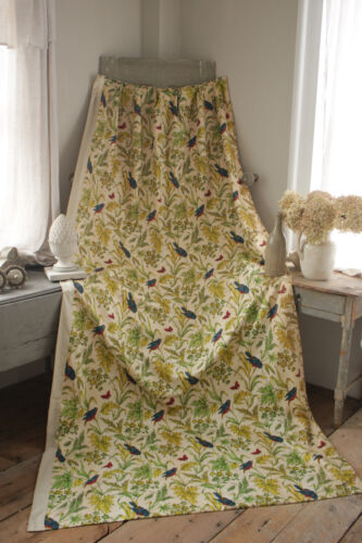 Boussac Fabric Drape Curtain colorful floral bird pattern Vintage French right