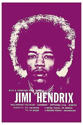 Jimi Hendrix at Fort Worth Texas Concert Poster 1969  2nd Printing