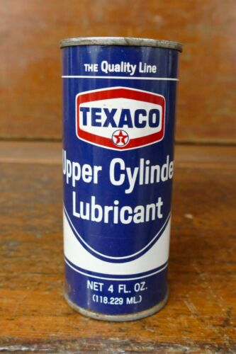 Vintage 1960s-70s Texaco Upper Cylinder Lubricant 4oz Metal Oil Can NOS Full