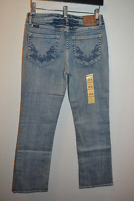 Cowgirl Up Jeans Size 8 30 Waist Midrise Boot Cut  Light Wash Embroidered NEW](Light Up Cowgirl Boots)