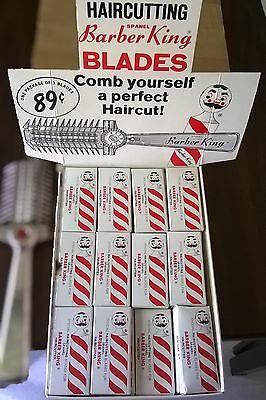VINTAGE Barber shop Razor Blades & Cutter Store Display
