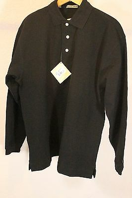 Cutter & Buck Men Long Sleeve Polo Black ABC Logo Size M