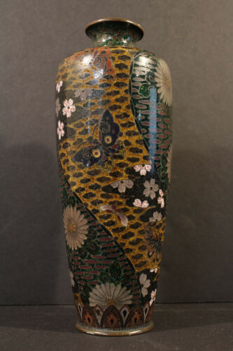 Japanese Cloisonne Vase Butterflies Ming Clouds Orange Background Signed On Base