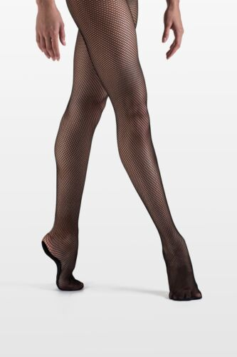 So Danca Plus Size Fishnet Footed Dance Tights, Style T98, Size XXL, Black