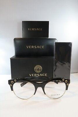 Versace MOD 3232 108 Dark Havana on Gold New Authentic Eyeglasses 52mm w/Box