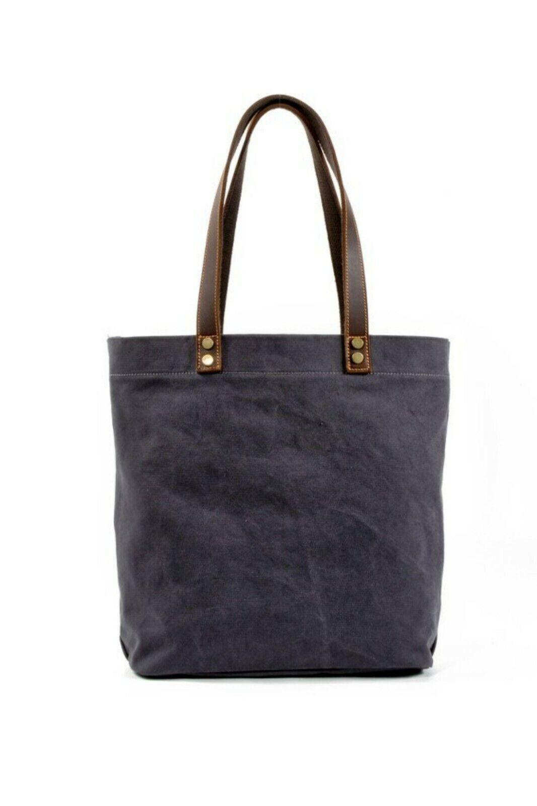 Medium Canvas Tote Bag Shoulder Bag Leather Handle Handbag F