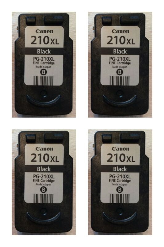 Genuine Canon PG 210XL Refillable LOT of 4 EMPTY Used Black Ink Jet Cartridges