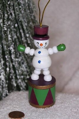 Vintage wood Push toy Christmas ornament  Snowman on drum