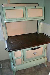 best 1920 039 s vintage cook stove art deco cookstove in jadeite cream enamel wood ebay. Black Bedroom Furniture Sets. Home Design Ideas